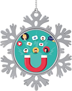 C COABALLA Social Media Concept- with Magnet Engaging Followers and Likes.Inence Marketing,Hanging Ornament Decoration Kit,Hanging for Xmas Holiday Party Decor Social Media 1PCS