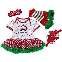 Toyvian Baby Girl Christmas Dress: Toddler Short Sleeve Santa Dress Green Red Xmas Romper Tutu Skirt Bow Headband Leg…