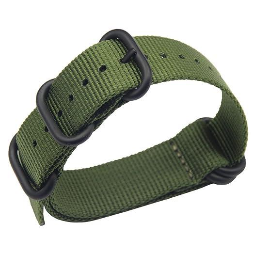 19mm ejército verde de lujo exquisito de una sola pieza correas de reloj de  estilo de la NATO perlón de nylon de los hombres correas textiles   Amazon.es  ... 32352f1ddc08