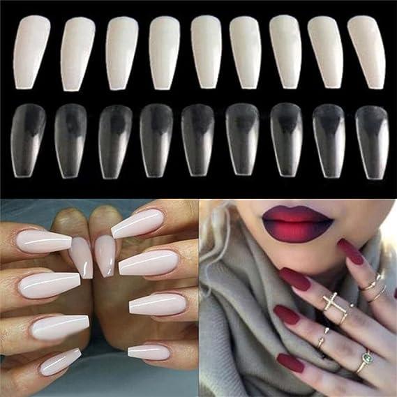 500 unidades de uñas postizas de acrílico ovaladas (color blanco natural): Amazon.es: Belleza