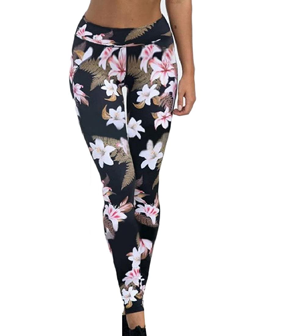 Comaba Women Casual Trousers Fitness Yoga Fit Printed ...