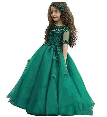 1b9d5bd7f1d hengyud Green Girls Pageant Dresses 7-16 Ball Gowns Long Kids Prom Dress  Long Floor