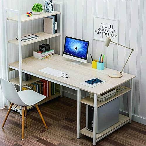 Upure Computer Desk with Shelves,Modern Study Table with 5-Tier Bookshelf,Multifunction Home Office Desk with Storage Shelf for Bedroom,Office 55.12 x23.62 ,Maple