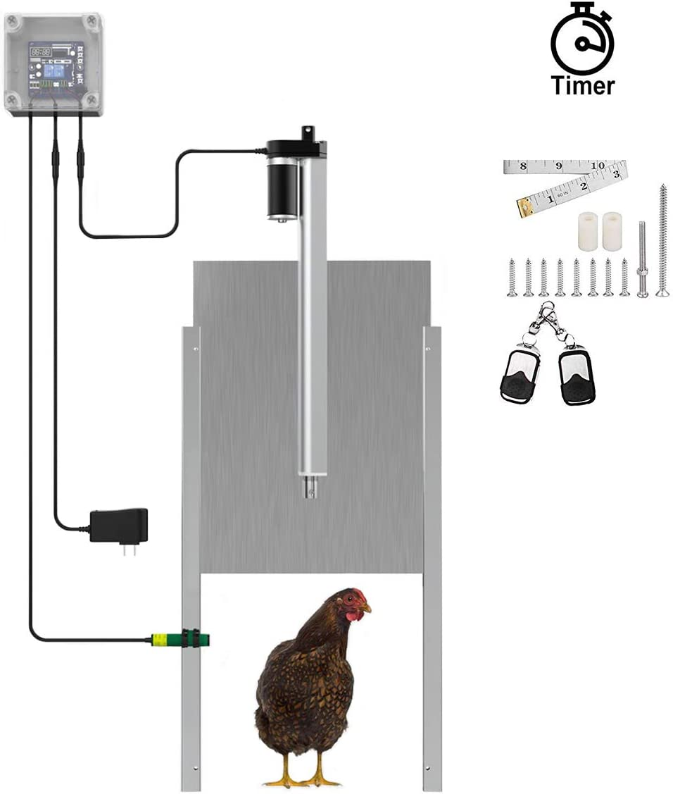 InLoveArts Automatic Chicken Coop Door Opener Kit with Programmable Timer Controller Outdoor Timer Controller Actuator Motor Waterproof Remote Control Automatic Chicken Door
