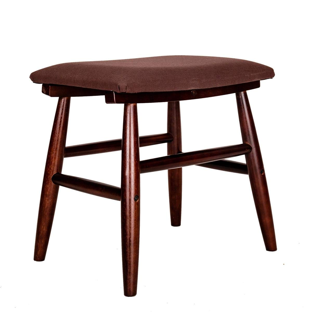 GRAFZEAL Vanity Stool, Rubberwood Legs Vanity Bench Makeup Dressing Stool Padded Shoe Bench Chair Piano Seat, Capacity 308lb, Easy Assembly, Rustic Brown HXD02Z by GRAFZEAL