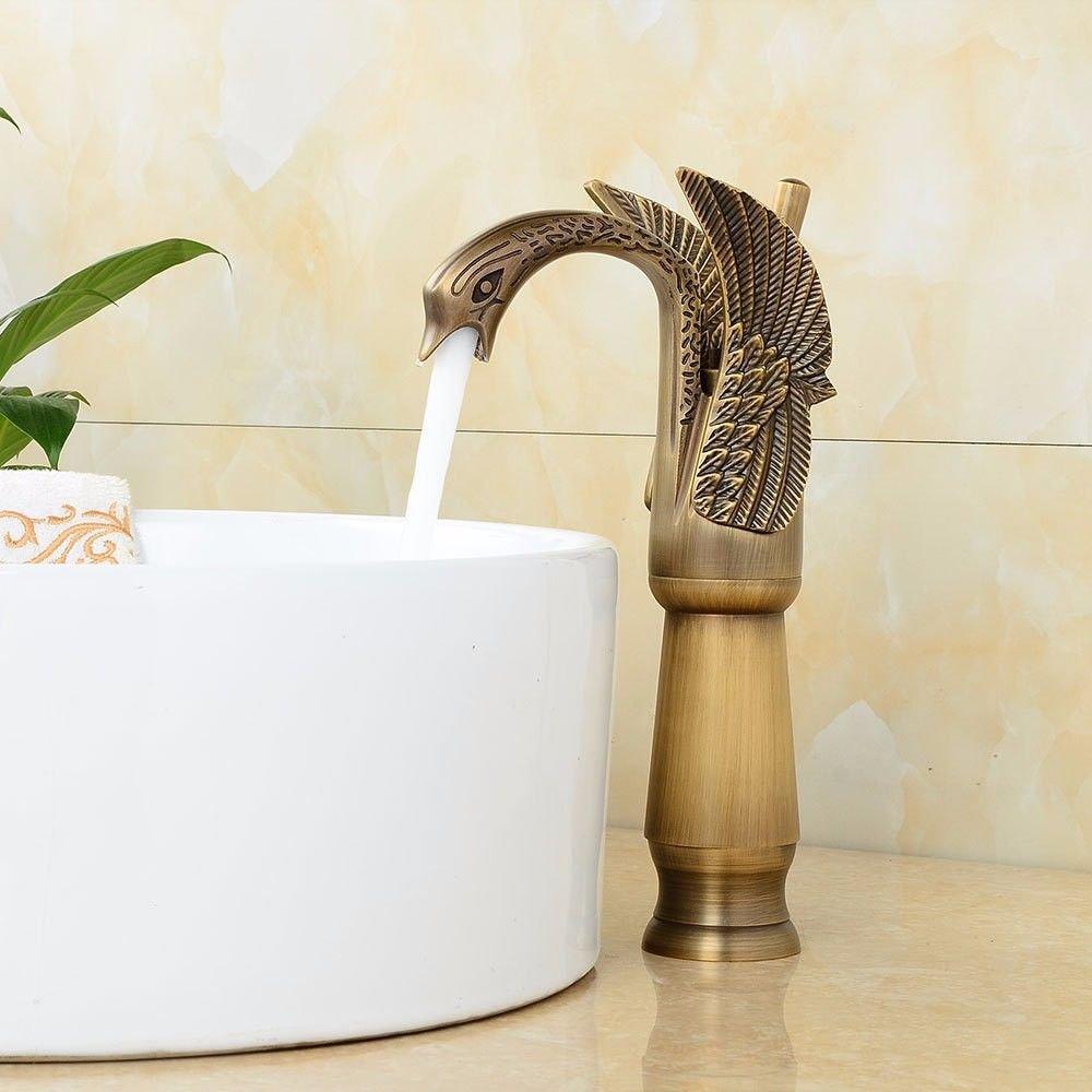 AQiMM Waschtischarmatur Wasserhahn Waschbecken Form Der Swan Antike Höhe Kaltes Wasser Keramik Ventil Einloch, Einseitiger Griff  Badezimmer Mischbatterie