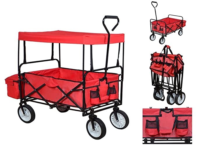 Amazon Com Red Outdoor Sport Collapsible Folding Wagon W Canopy