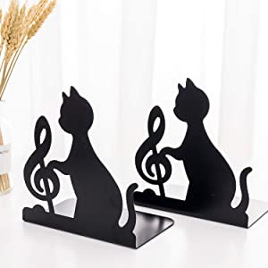 Decorative Art Bookends Cute Cat Playing Music Nonslip Book Ends Supports Book Organizer Heavy Duty Iron Book Stands Stoppers Office School Library Animal Music Note Black Metal Book Holders Racks