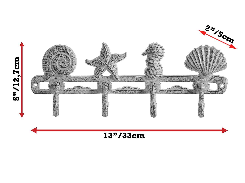 ComfifyVintagePercha de Gancho de la Capa de Conchas marinasSuspensión rústica de la Pared de Hierro Fundido w / 4 Ganchos Decorativos | Incluye ...