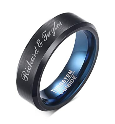 Mealguet Jewelry Personalized Men S Black Brushed Tungsten Carbide
