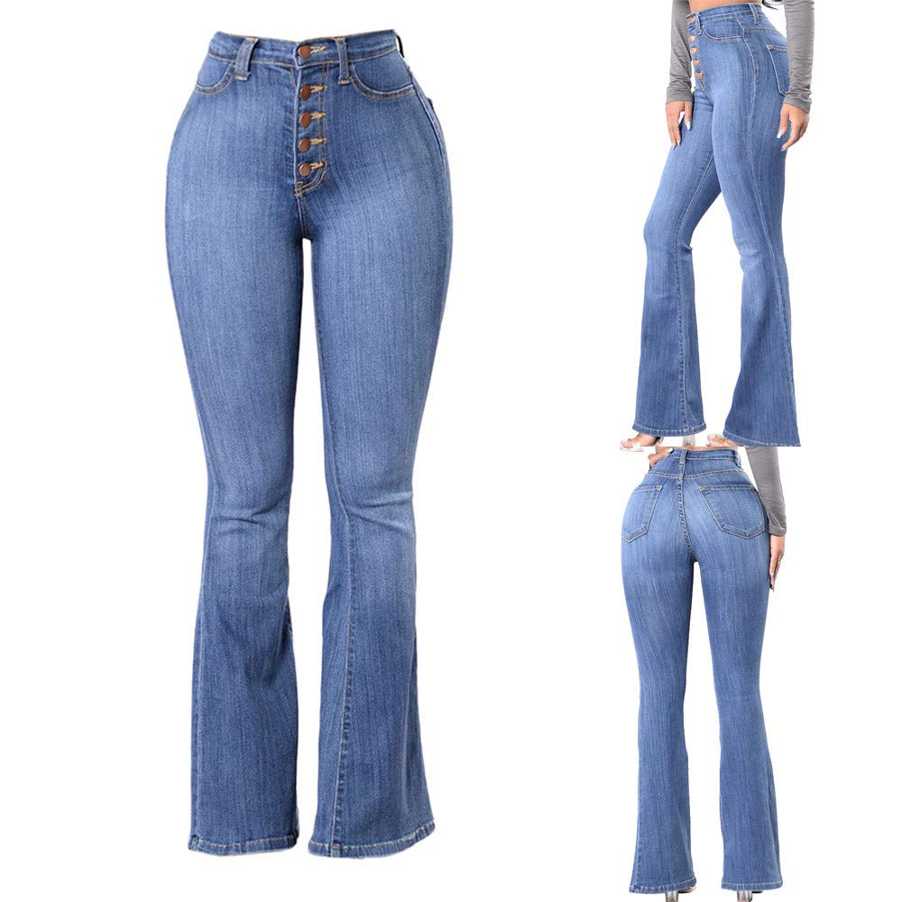 Farjing Pants Clearance Sale Women High Waisted Skinny Denim Jeans Stretch Slim Pants Calf Length Jeans(2XL,Blue by Farjing