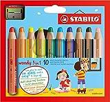 Купить STABILO woody 3 in 1 - Buntstift, Wasserfarbe und Wachsmalkreide in einem- 10er Set - mit Spitzer