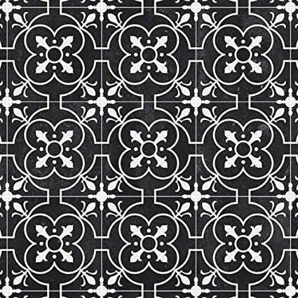 Cushioned Vinyl Flooring Sheet Lino Black Victorian Tile Effect