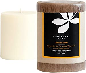 PURE PLANT HOME 3 x 3.5 Soy/Coconut Blend Pillar Lavender/Orange Blossom