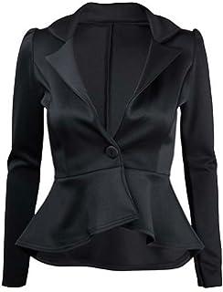 dedaeb2f5ee Womens New Long Sleeve Fitted Peplum Jackets Ladies Slim Fit Button Flared  Frill Blazer Jacket
