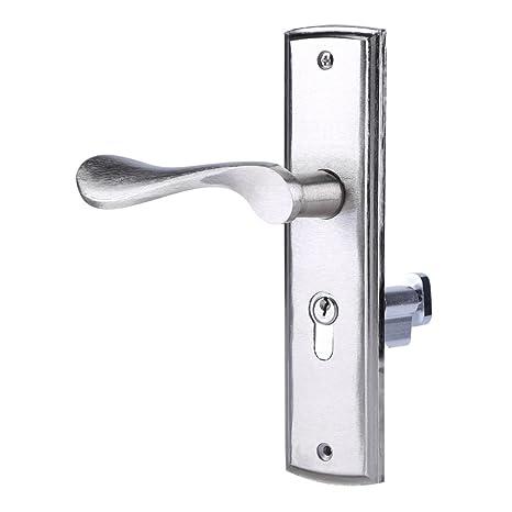 Tirador de Puerta con Llaves Cerradura Manilla Interior de Aluminio Manija de Puerta Duradera Seguridad para