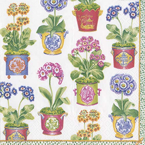 Caspari Paper Napkins Fancy Floral Decorative Dinner Napkins for Wedding Napkins, Baby Shower Napkins, Bridal Shower Floral Primrose 40 per Pak (Floral Dinner Paper)