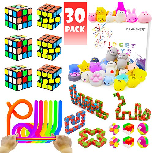 (Party Favor Pinata Toy For Kids, Party Assortment Bundle, Mini Magic Cube, Mochi Squishies, Stretchy String, Wacky Tracks Toy For Birthday Party,Classroom Rewards,Carnival Prizes, Goodie Bag Fillers )