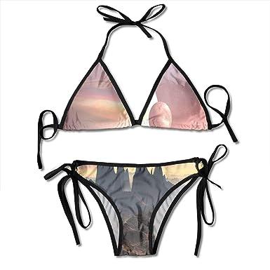 44c4e4299dda7 TYANG Women's Tie Side Bottom Padding Triangle Bikini Swimsuits,Twin Moons  Over Planet Europa Apocalypse