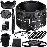 Nikon AF NIKKOR 50mm f/1.8D Lens + 52mm 3 Piece Filter Set (UV, CPL, FL) + 52mm +1 +2 +4 +10 Close-Up Macro Filter Set with Pouch + Lens Cap + Lens Hood + Lens Cleaning Pen Bundle