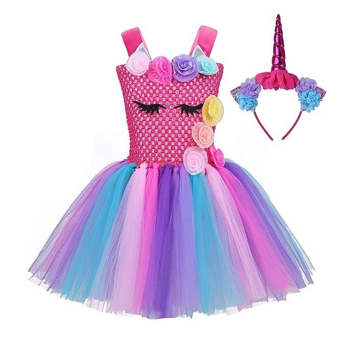 iiniim Vestido Niña Unicornio Princesa Rosa Diadema Flor Argolla de Pelo Disfraz Conjunto Tutú de Tul