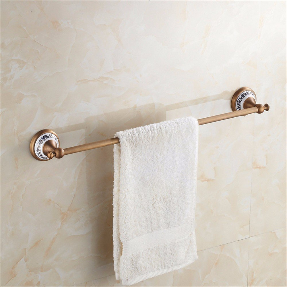 XXSZKAA Antique Bathroom Accessories Towel Bar Vintage Towel Bar Copper Brushed Single Spa Bath Ceramic Base Decoration, 60Cm by XXSZKAA-Towel rack (Image #8)