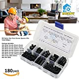 Mekov, 180 pieces M3 Nylon Male Female Hex Utility Spacer Standoff Screw Nut Assortment Kit, Prototyping Accessories For PCB, Quadcopter Drone, Computer & Circuit Board (Black)