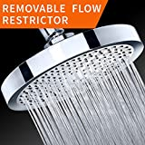 "Shower Head - Rainfall High Pressure 6"" - Rain High Flow Fixed Luxury Chrome Showerhead - Removable Water Restrictor - Adjustable Metal Swivel Ball Joint - For the Best Relaxation and Spa"