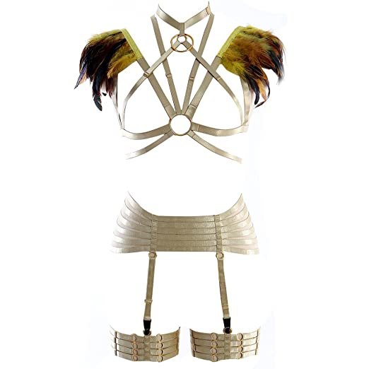 00ca6f1b2 Image Unavailable. Image not available for. Color  Yellow Body Harness  Lingerie Set Strap Garter Belt ...