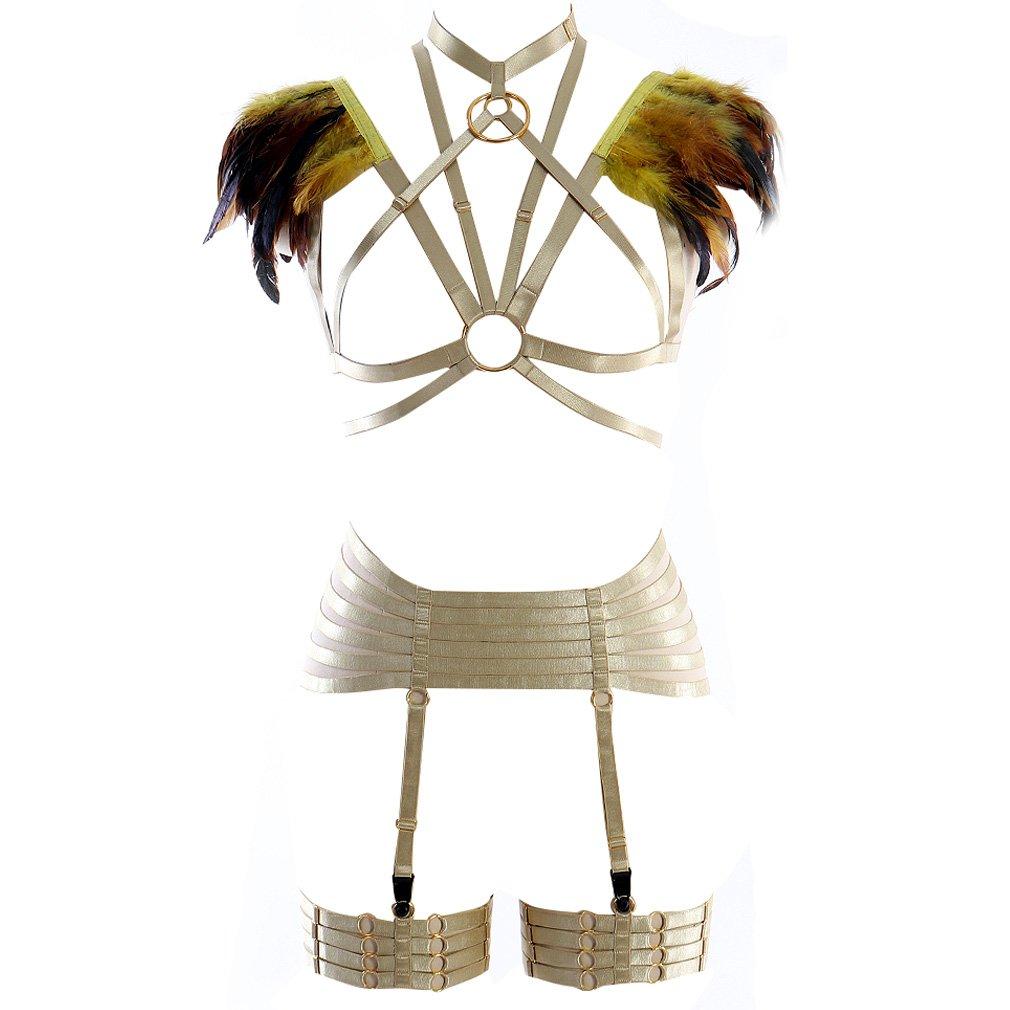 Women Harness Feather Epaulette Bralette Strappy Full Body Frame Set Festival Rave Halloween Burning Man Wing (Yellow O669+P180)