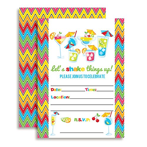 Colorful Cocktail Hour Party Invitations set of 10 Fill In Cards with 10 White Envelopes. Perfect for a girl's night out or celebration by AmandaCreation