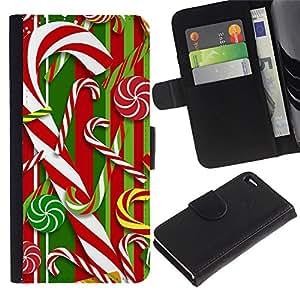 Paccase / Billetera de Cuero Caso del tirón Titular de la tarjeta Carcasa Funda para - Cane Red White Xmas Christmas - Apple Iphone 4 / 4S