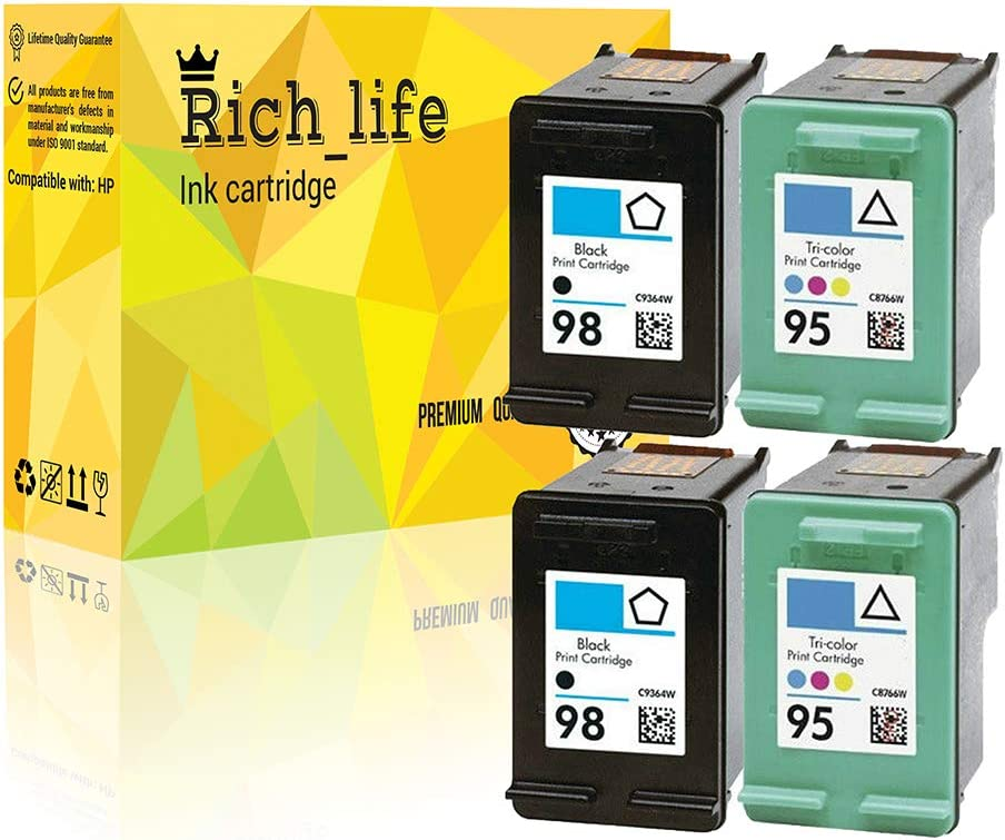 Rich_life Remanufactured Ink Cartridge Replacement for HP 95 C8766WN & HP 98 C9364WN for HP Printer Officejet Deskjet Photosmart 4 Pack(2 Black+2Tri-Color)