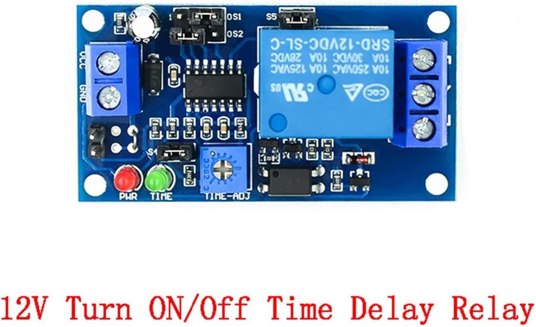 CCJW Encienda retardo del relé de retardo de Encendido/Apagado de retraso de Giro del módulo con el Temporizador DC 12V Tiempo del relé de retardo Módulo 12 V voltios sincronización Junta relés