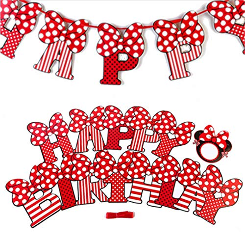 Pink Red Sweet Dot Bow Mini Banner Happy Birthday Banner for Gilrs Mini Mouse Style Party Decorations (Red)