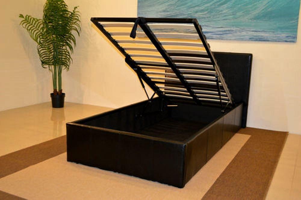 Black 3ft Single Storage Ottoman Gas Lift Up Bed Frame TIGERBEDS ...