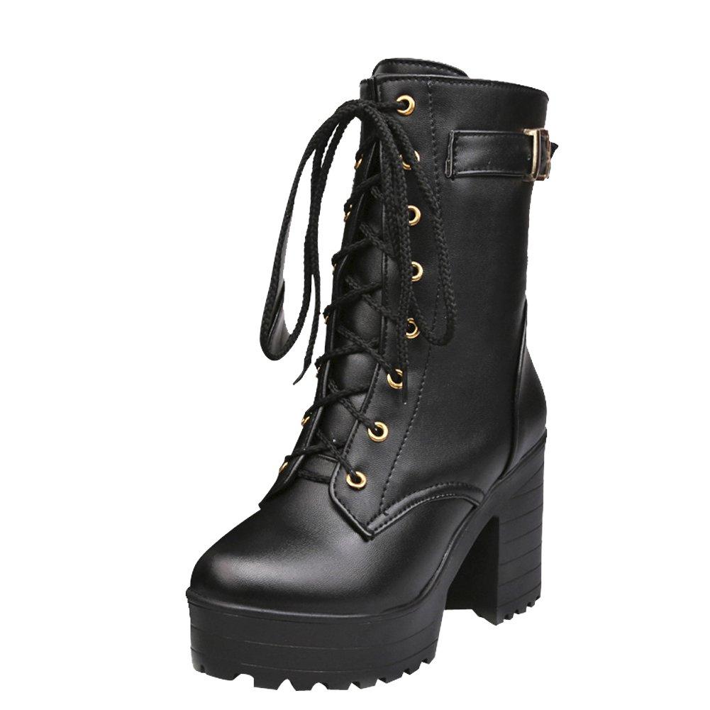 0d11177f9dc Carol Shoes Womens Lace-up Combat Mid-Calf Boots