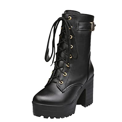 c11399906a1 Carol Shoes Womens Lace-up Combat Mid-Calf Boots
