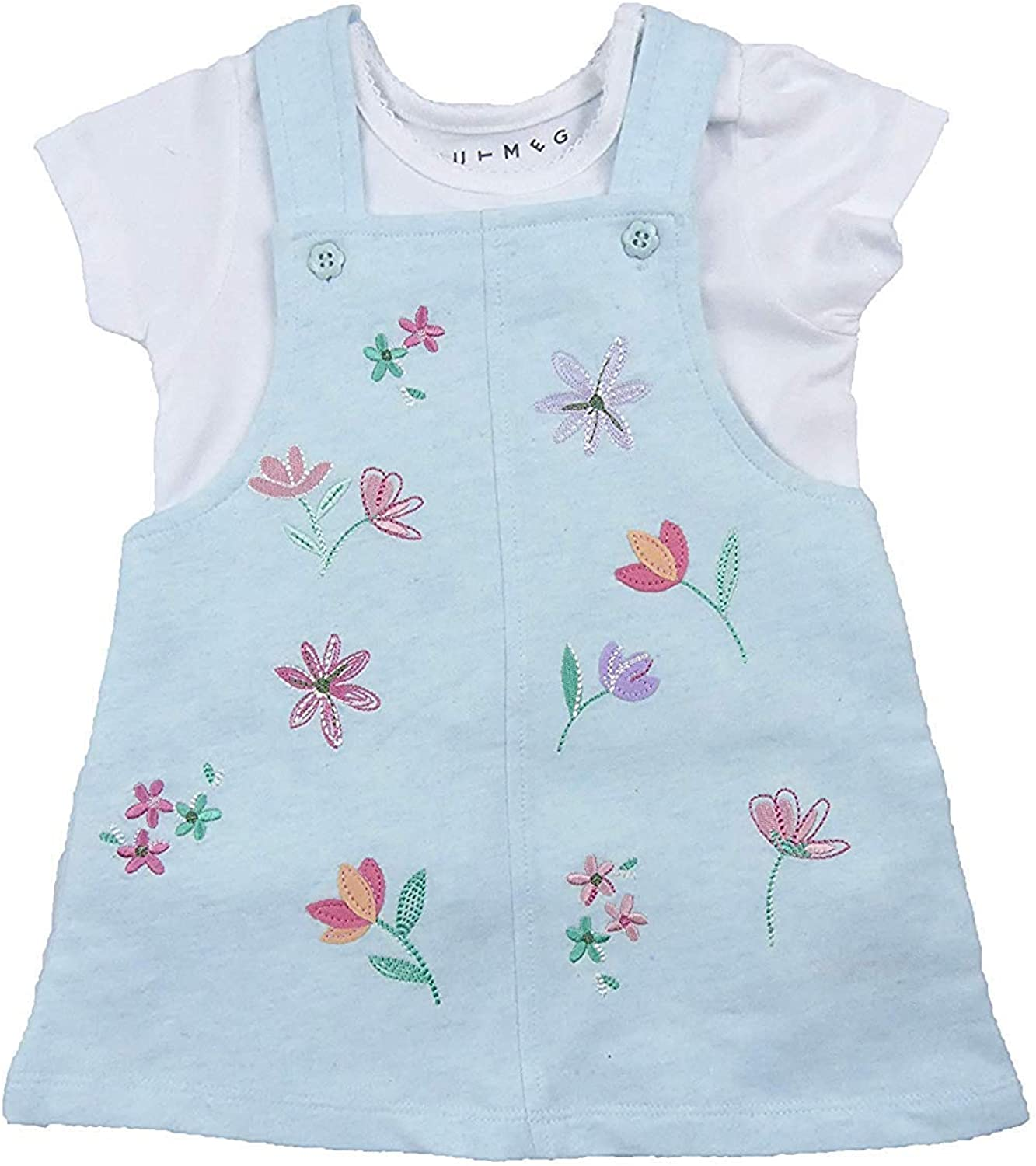 Baby Girls Pinafore Dress and T Shirt Two Piece Outfit Summer Holiday Wear