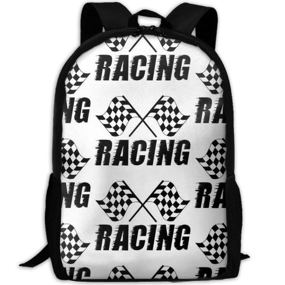 klnsha7 Racing Flagスクールバッグキャンバスブックバッグスクールバックパックwithペンバッグfor Boys Girls   B07G2QJ21C
