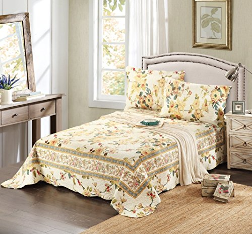 China Yellow Roses - Tache Home Fashion SD112-Cal King 3 Piece Floral Yellow Summer Rose Bedspread Set, California King