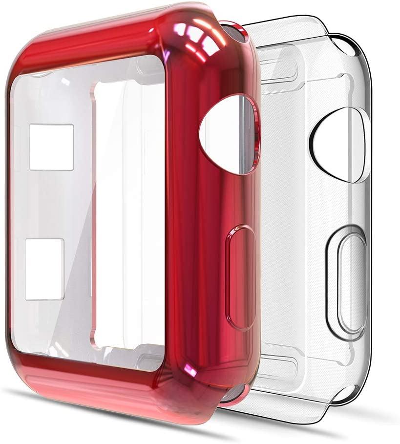Simpeak Soft Screen Protector Bumper Case Compatible with Apple Watch 38mm Series 2 Series 3, Pack of 2, All-Around, Clear+Red