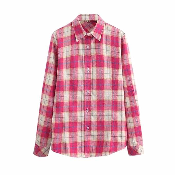 HUI Blusa A Rayas de Manga Larga de Las Mujeres Camisas Casuales Mujeres Camiseta