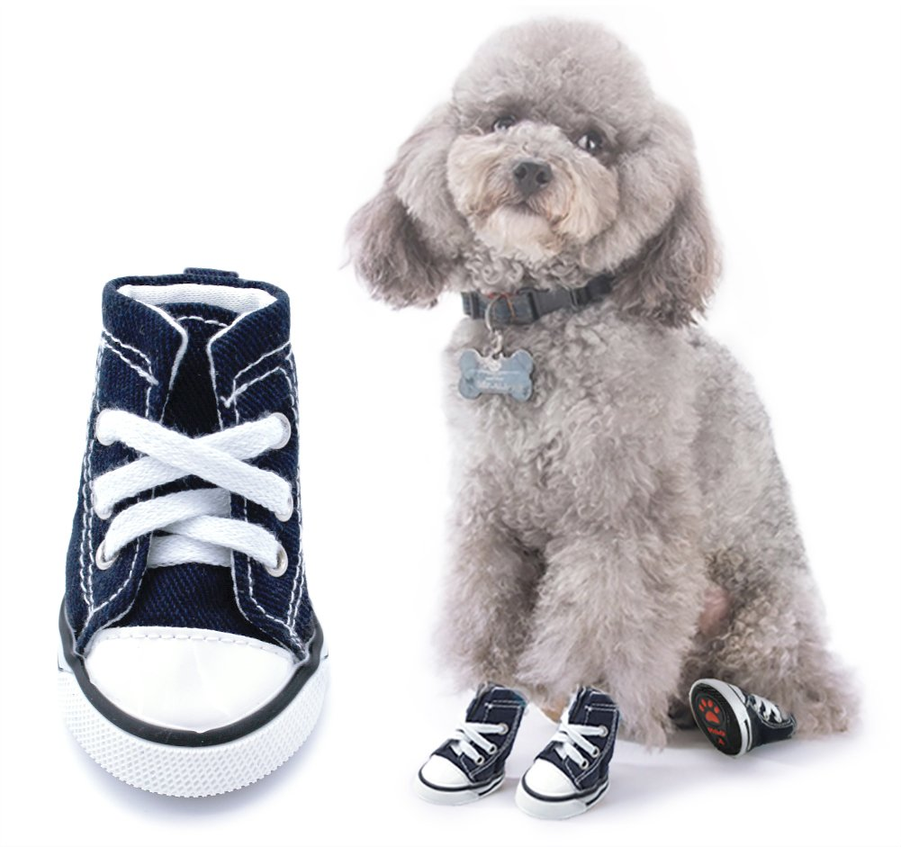Scheppend Anti-Slip Dog Boots for Small Dogs Sport Shoes Fashion Pet Sneakers,Blue #3(2.0'' Lx1.6 W)