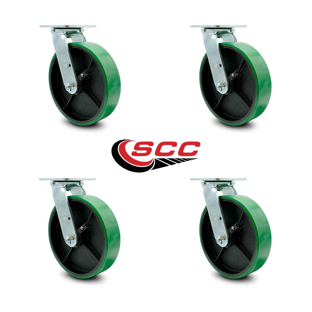 Service Caster - 8'' x 2'' Polyurethane Wheel Caster Set - Green on Black - Swivel Casters - Non Marking - 5,000 Lbs Total Capacity - Set of 4