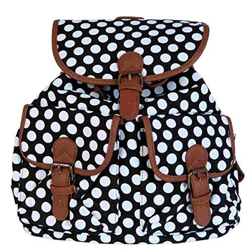 Clayre & Eef BAG208 Rucksack Tasche schwarz Punkte weiß ca. 30 x 13 x 33 cm