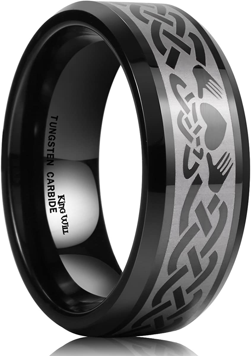 King Will Classic Men's 8mm Black Tungsten Carbide Ring Laser Irish Claddagh Engagement Polish Wedding Band