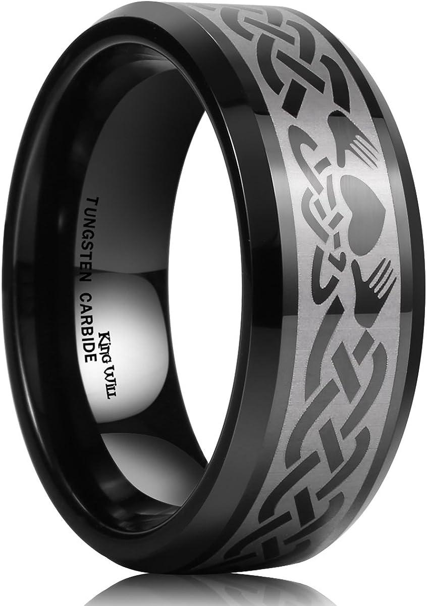King Will Classic Men's 8mm Black Tungsten Carbide Ring Laser Irish Claddagh Engagement Polish Wedding Band