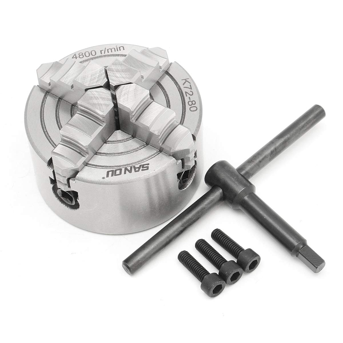CoCocina SANOU K72 Lathe Chuck 80/100/125mm 4 Jaw Independent Hardened Reversible Tool - 80mm