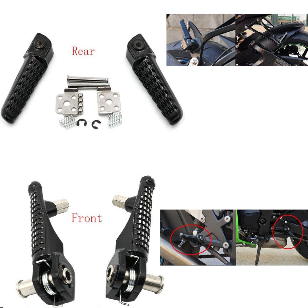 Alpha Rider Black Front & Rear Foot Pegs Footrest Kit for Kawasaki Ninja ZX6R 2007-2008 ZX600P | Ninja ZX14R 2012 ZX1400E | Ninja ZX14 2008-2011 ZX1400C Motofans